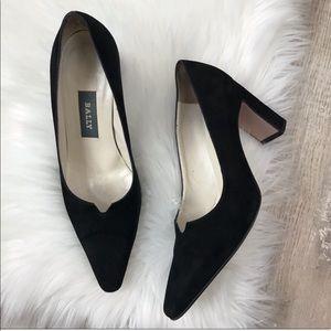Bally Black Suede Pointed Toe Heels Sz. 6